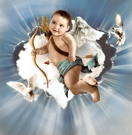Baby cupid with angel wings Stock Photo - 10646388