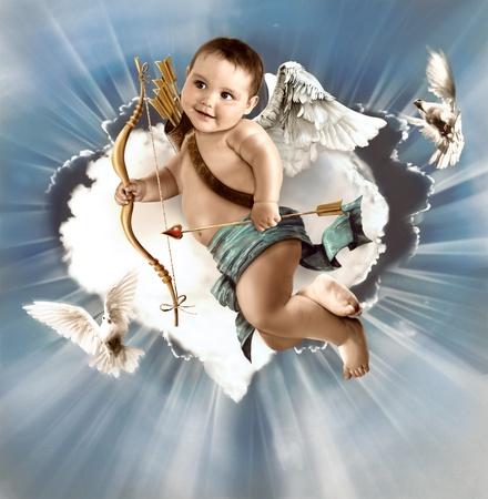 valentine cherub: Baby cupid with angel wings