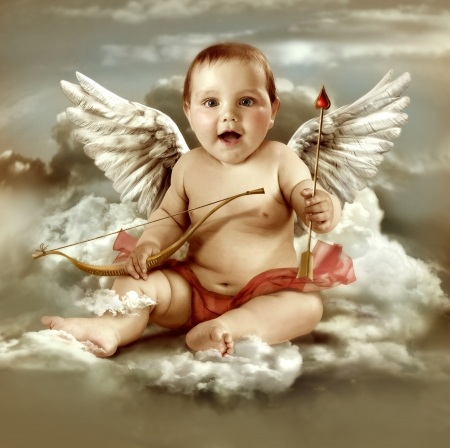 feb: Baby cupid with angel wings