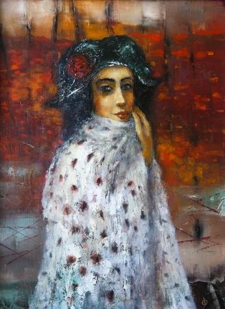 fine art portrait: painting on canvas