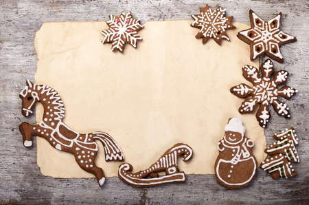 cookie cutter: Christmas gingerbread  and old paper