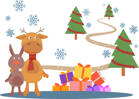 staying: Deer and rabbit staying near of gifts on snow.  Christmas trees and way are on background. Illustration