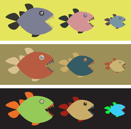 ugly mouth: Three colored fishes in a line. In each row fish sizes are from big to small.