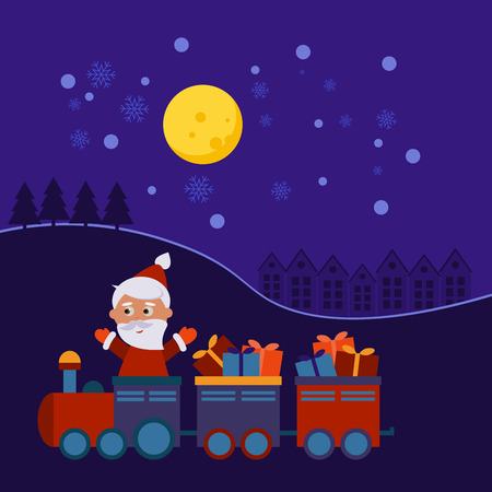 christmas train: Santa Claus in a Christmas train with gifts at night