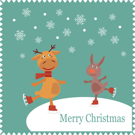 year of the rabbit: Deer and rabbit skates on snow.  Christmas cute card of new year, merry christmas