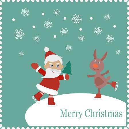 racing skates: Santa and rabbit skates on snow.  Christmas cute card of new year, merry christmas Illustration