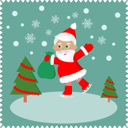 racing skates: Santa skates on snow.  Christmas cute card of new year, merry christmas