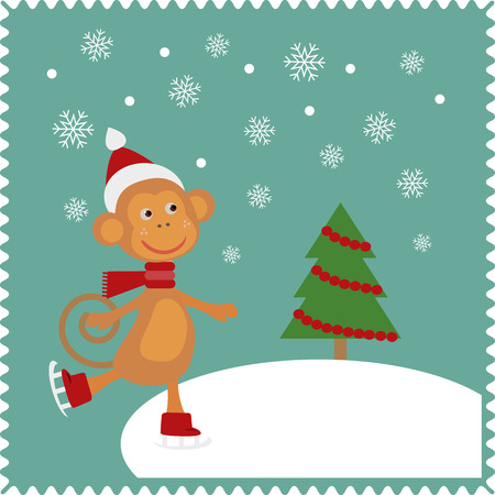 racing skates: Monkey skates on snow.  Christmas cute card of new year, merry christmas 2016 Illustration