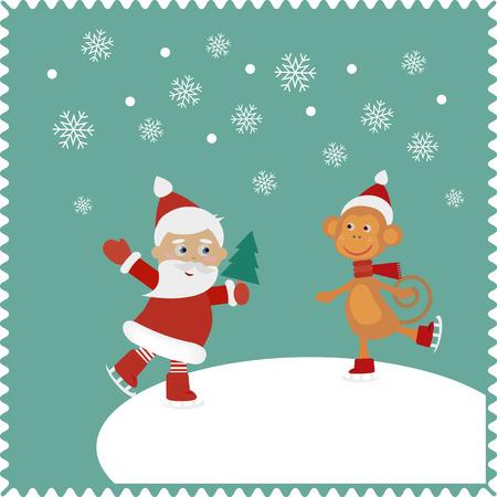 racing skates: Santa and monkey skates on snow.  Christmas cute card of new year, merry christmas 2016