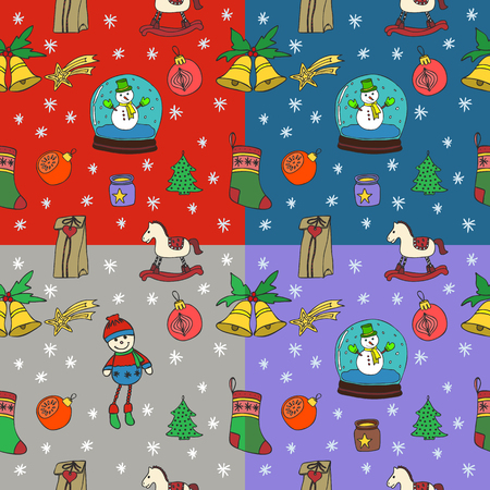 christmas wallpaper: New Year seamless pattern set. Happy New Year. Happy winter holidays. Merry Christmas. Hand Drawn Doodles illustration with color elements.