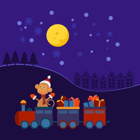 christmas train: Santa Claus Monkey in a Christmas train with gifts at night.