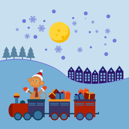 christmas train: Santa Claus Monkey in a Christmas train with gifts.