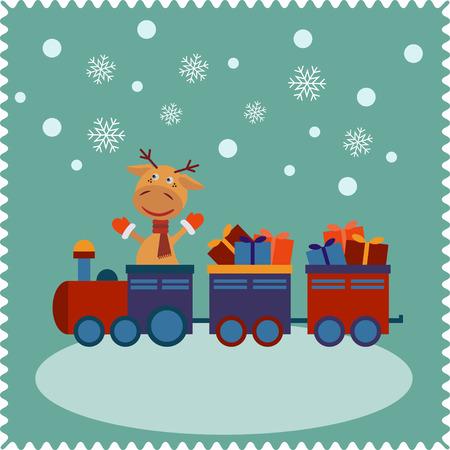 tren caricatura: Ciervos viajar en tren. Tarjeta de Navidad linda del año nuevo, feliz navidad, días de fiesta alegres.