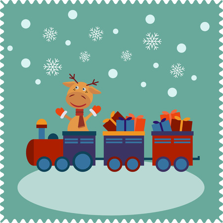 cartoon train: Deer traveling by train.  Christmas cute card of new year, merry christmas, merry holidays.