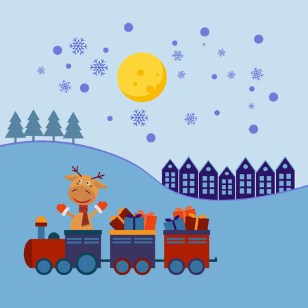 christmas train: Santa Deer Claus in a Christmas train with gifts. Illustration