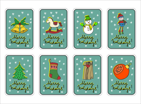 rocking horse: Merry Christmas greeting card set with Christmas decorations, toys and snowman, tree, rocking horse retro designs.