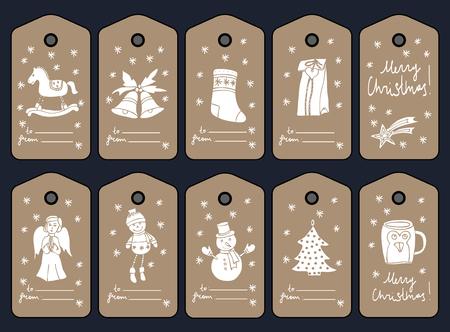 CHRISTMAS GIFT TAGS, NAKLEJKI I NAKLEJKI. Szablon na powitanie Rezerwacja złomu, gratulacje, zaproszenia. Ręcznie rysowane.