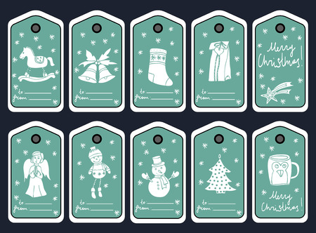scrap booking: CHRISTMAS GIFT TAGS, STICKERS AND LABELS. Template for Greeting Scrap booking, Congratulations, Invitations. Hand drawn.   Illustration