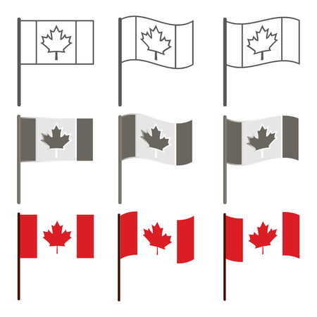winnipeg: Vector Canadian flag icon set, flag of Canada, Illustration