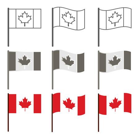 winnipeg: Vector Canadian flag icon set, flag of Canada, Illustration