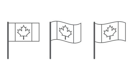canadian flag: Vector Canadian flag icon set, flag of Canada
