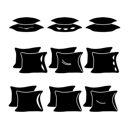 symbols: Pillow icon set vector, black and wtight, eps8