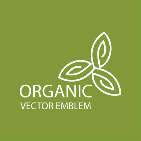 organic farming: Vector abstract emblem,outline monogram, flower symbol, concept for organic shop or yoga studio, logo design template, linear logo design template, organic food and farming, green, vegan food concept