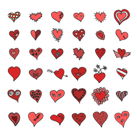 grunge heart: Hand drawn red hearts icon set - vector illustration