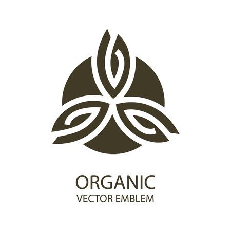 emblème abstrait, contour monogramme, symbole eco, concept magasin bio ou studio de yoga, logo modèle de conception, linéaire modèle de conception de logo, l'agriculture biologique, vert, concept de nourriture végétalienne, logo Logo