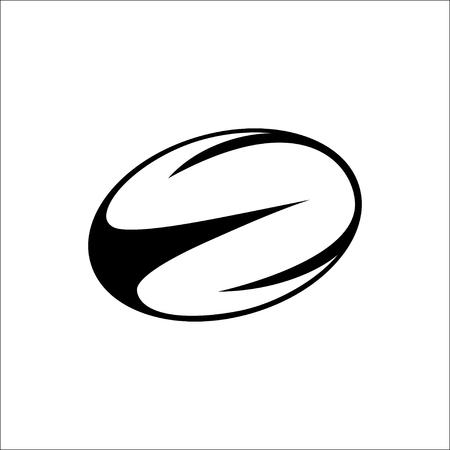 illustratie van zwarte, witte rugbybal