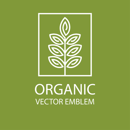 herbal: Vector abstract emblem,outline monogram, flower symbol, concept for organic shop or yoga studio, design template, linear design template, organic food and farming, green, vegan food concept Illustration