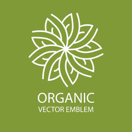 organic farming: Vector abstract emblem,outline monogram, flower symbol, concept for organic shop or yoga studio,  design template, linear  design template, organic food and farming, green, vegan food concept