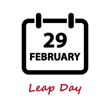 29: LEAP DAY. February 29. Calendar icon Illustration