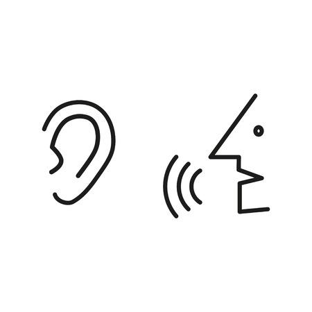 Man speak to ear. Simple icon. eps10