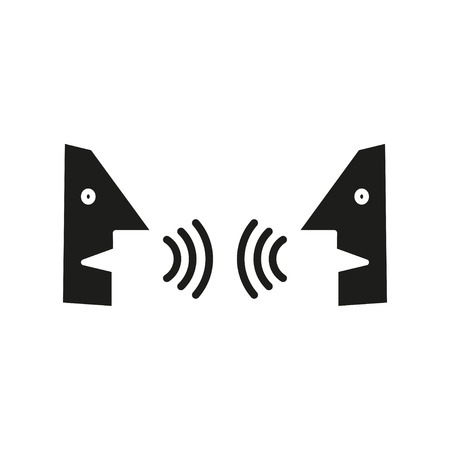 conversational: Dialogue,contact, conversational exchange between two individuals, simple icon
