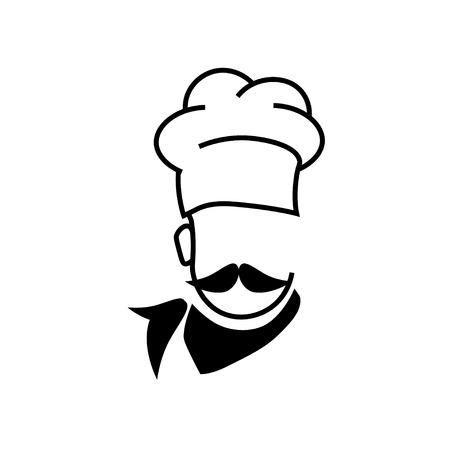 big hat: Chef hat and big mustache. Illustration