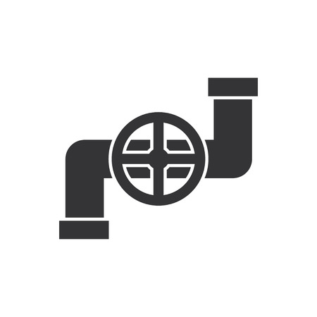 canalization: Pipe with valve icon. Illustration