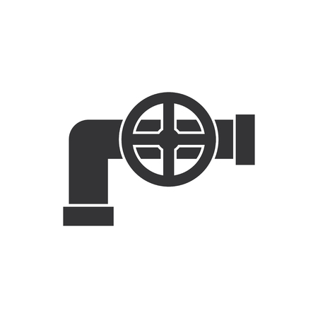 sewage system: Pipe with valve icon. Illustration