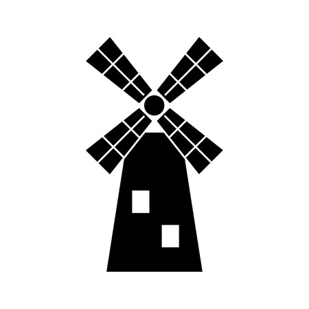 molino: Molino de viento icono de l�nea negro, ilustraci�n vectorial.