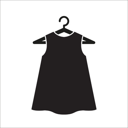 little black dress: Girl little black dress on hanger. Illustration