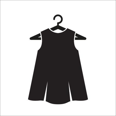 little black dress: Girl little black dress on hanger. Illustration