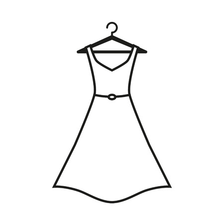 Woman black dress on hanger. Dress Icon