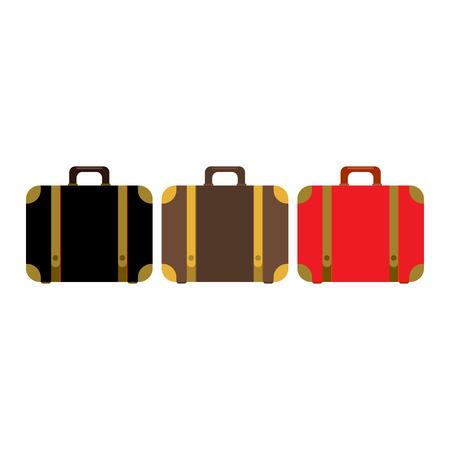 brawn: Suitcase set icon. Flat design style modern vector illustration. Elements in flat design. Red,black and brawn suitcases Illustration