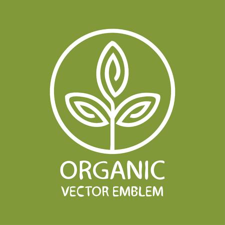 Vector abstract emblem, outline monogram, flower symbol, concept for organic shop or yoga studio, logo design template, linear logo design template, organic food and farming, green, vegan food concept Logo