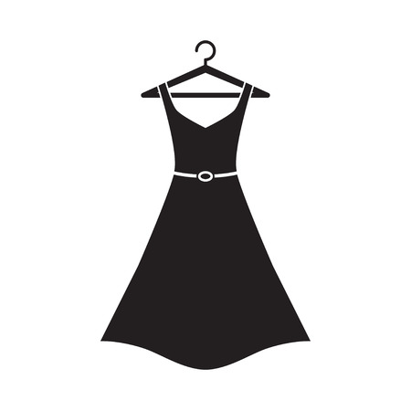 black dress: Female long dress with belt on a hanger. Simple icon dress. Black dress. Vector