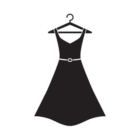 Femme longue robe avec une ceinture sur un cintre. icone robe simple. Robe noire. Vecteur