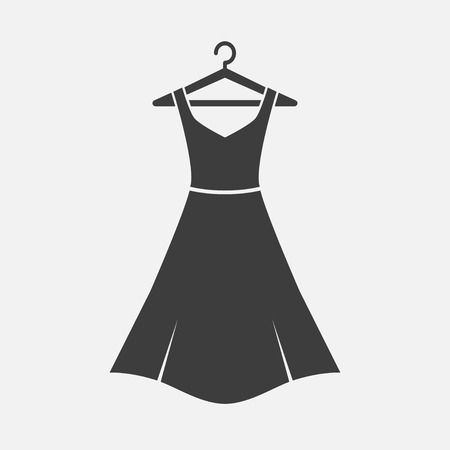 Female girl long dress with belt on a hanger. Simple icon dress.