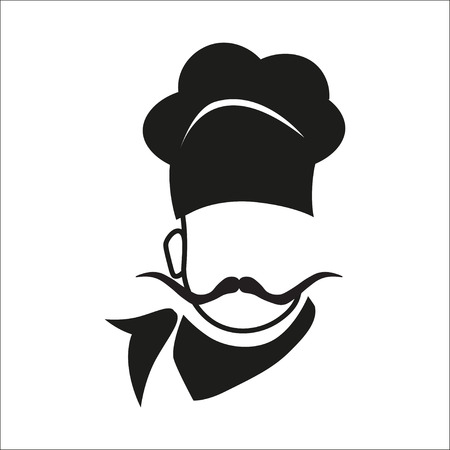 big hat: Chef hat and big mustache. Menu card. Flat design style. Illustration