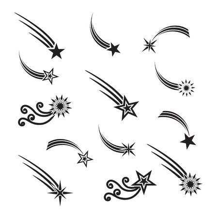 tiro al blanco: estrellas fugaces conjunto de vectores. estrellas fugaces aislados de fondo. Iconos de meteoritos y cometas. La caída de estrellas con diferentes colas.