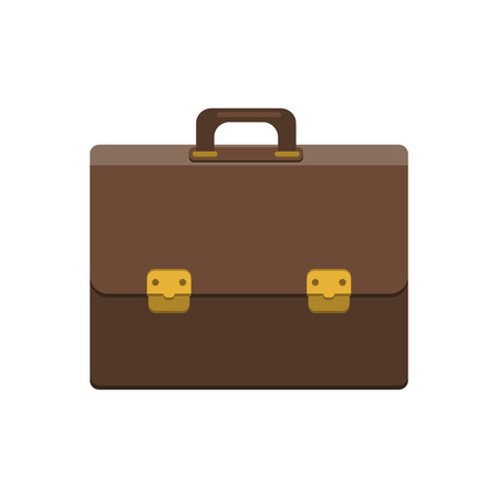 attache: Briefcase Icon In Flat Style. Businessman Bag. Mens Case With Lock Isolated Icon. Modern Vector Illustration For Web And Mobile. Illustration